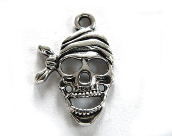 6 Large Silver Pirate Skulls - 1 1/8""