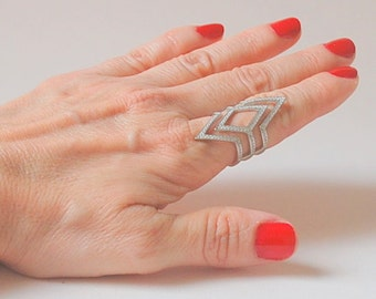 Sterling Silver ,Cubic Zirconia Stones,Rhinestones,Crystal, Friendship Ring