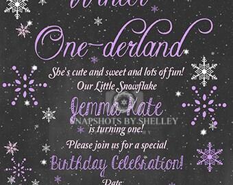 Personalized Winter ONE-derland First Birthday Invitation