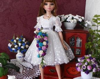 Tonner Evangeline Ghastly Ellowyne Cami BJD Blue & Purple Bouquet, Flowers, NEW