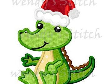 Christmas alligator applique machine embroidery design