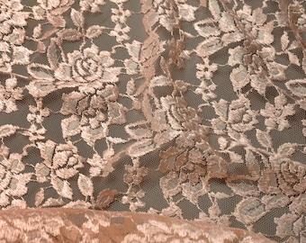 Floral Raschel Lace Trim Fabric, 44 Inch by 1 Yard, Peach, ROI-76324