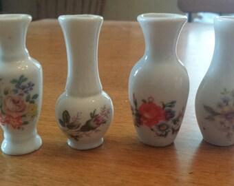 Vintage Floral Mini Bud Vases Set of 4