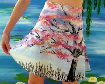 pink skirt, skirt with cherry blossom, cherry blossom tree skirt, cherry blossom dress, cherry blossom skirt, skirts with trees, tree prints