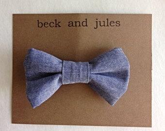 Boys chambray blue jean clip bow tie