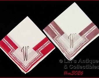 "Two Gorgeous  Monogrammed ""W"" Vintage  Handkerchiefs Hankies (Inventory #M3026)"