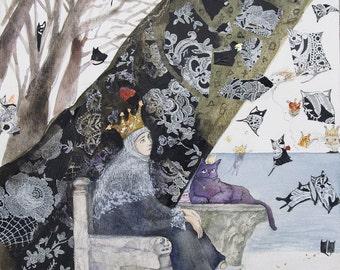 Fantasy illustration, Fantasy Print on Canvas Original Watercolor, Fairy tale Art