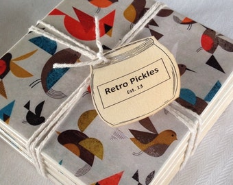 Ceramic Tile Coasters - Retro Style Birds