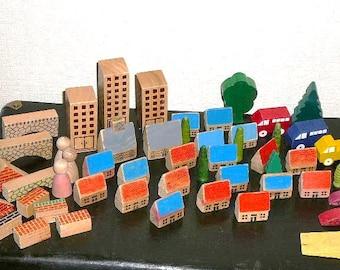 Scandinavian Vintage Wooden Toys, 1970s, Swedish Vintage Wood Blocks Wood @100