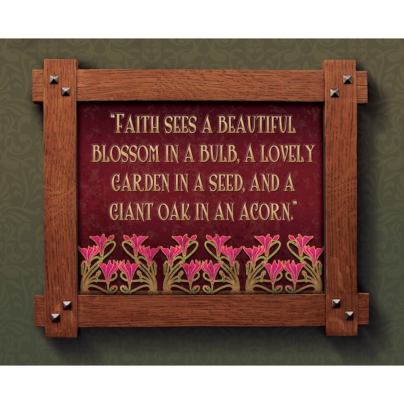 Items Similar To Arts And Crafts Framed Print Faith And