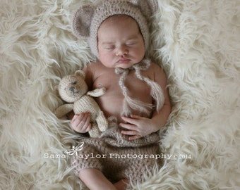 Match from 11 colors and 5 sizes Crochet   Baby Teddy Bear  Bonnet and Pants- Newborn Photography Props- Baby Crochet Hat