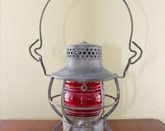 Vintage Red Globed Lantern