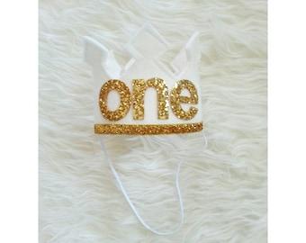 White and Gold First Birthday Felt Crown | Felt Crown | Birthday Boy Crown | Cake Smash | 1st Birthday | Photo Prop | Baby Birthday