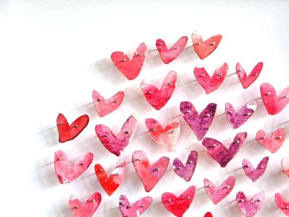 Papercut Hearts Framed Art Piece, Hand Pinned Watercolour