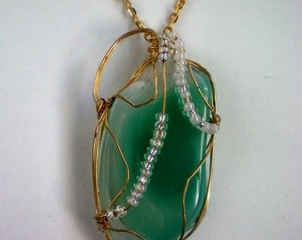 Wire Wrapped Sea Foam Green Natural Stone Pendant - 3797
