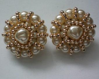 Large FAZIO faux Pearl Clip Earrings - 3836