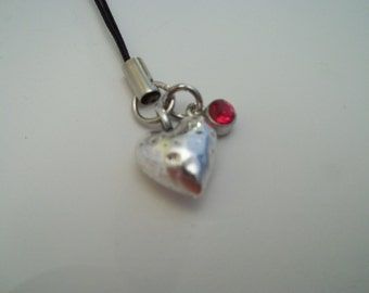 Birthstone Heart Cell Phone Charm - July