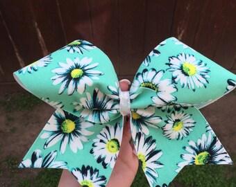 daisy mint cheer bow - ships immediately!