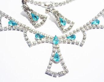 Princess Style Vintage 50s Aqua Blue Rhinestone Necklace Earrings Jewelry Set