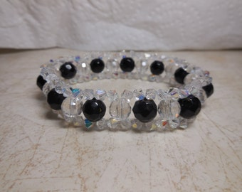 Stretch Bead Bracelet Clear white black Preciosa Aurora Borealis AB Swarovski like
