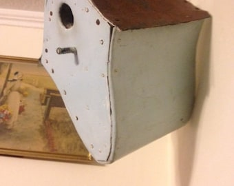 Copper Roofed Bird House, Home Made Woodworking Project, full of old nests