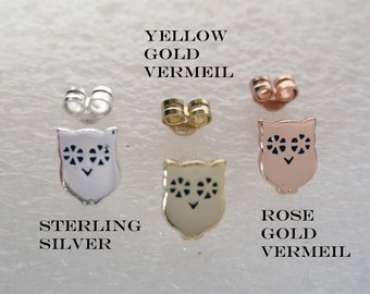 Owl Post Earrings/Sterling Silver/Gold Vermeil/Rose Gold Vermeil/Small Owl Stud Earrings/Owl Post Earrings Oxidized/Animal Studs/Nature