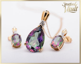 Ladies Mystic Topaz Pendant and Earrings ~ 10k Yellow Gold ~ 15 x 10mm Pear Shaped Mystic Topaz ~ Sold As Set ~ AL_001 ~ 750.00