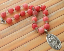 Mexican Silver Rosary Necklace