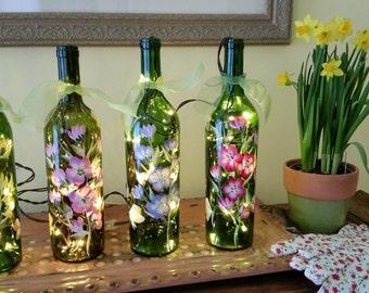 Spring Blossoms Lighted Wine Bottles