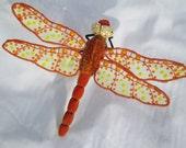 "Dragonfly Wall Hanging Art Decor, Orange & Yellow Velvet, 13"" wide"