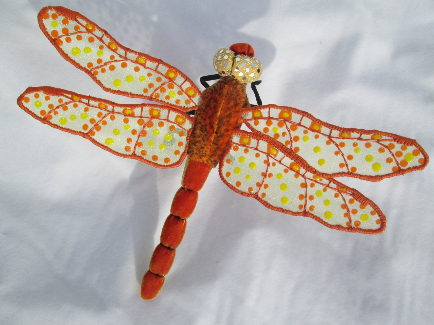 Dragonfly wall hanging art decor orange yellow velvet for Dragonfly mural