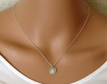 Silver Coin Necklace, Silver necklace, Silver disc pendant, Silver disc necklace,coin necklace,roman coin, ancient coin,Silver coin
