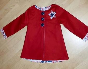 Red baby coat , Little girls Jacket age 12-18mths lightweight summer spring