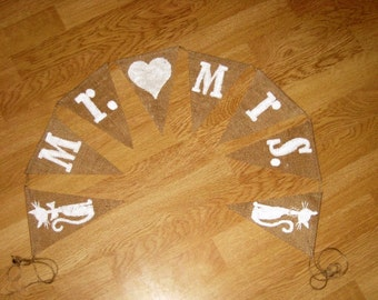 "wedding burlap banner with words ""Mr.& Mrs."""
