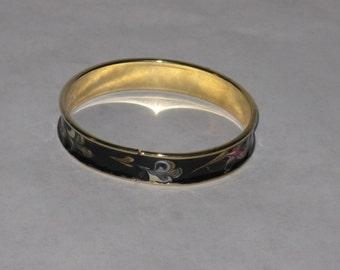 Metal bracelet black enamel gold tone pink green blue