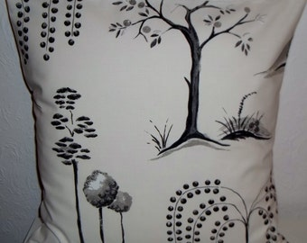 """Sanderson Black Willow Tree fabric cushion cover, pillow cover, 16"""" x 16"""" (41cm x 41cm)"""
