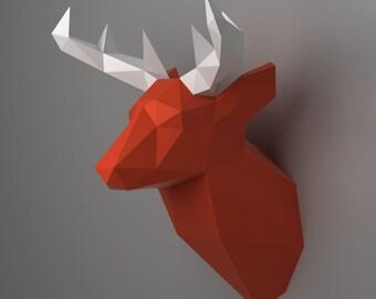 Deer Head Trophy - 3D papercraft model. Downloadable DIY template