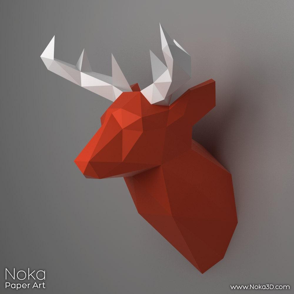 deer head trophy 3d papercraft model by nokapaperart on etsy. Black Bedroom Furniture Sets. Home Design Ideas