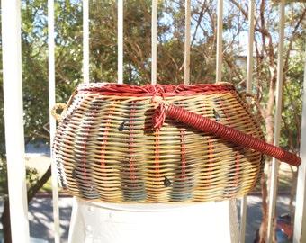 Vintage Wicker Watermelon Picnic Basket Rare Large