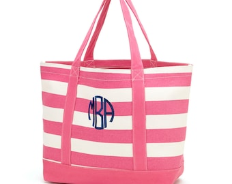 Personalized Canvas Tote-Hot Pink Stripe