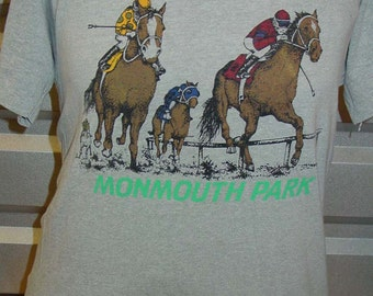 Monmouth Park Horse Racing Rare Relic Collector's Vintage T shirt
