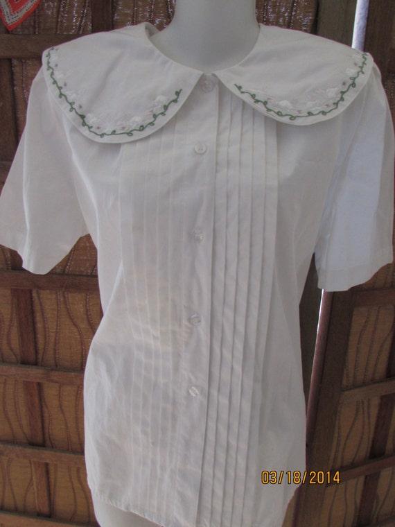 Size 12 peter pan collar blouse 100 cotton white blouse top for White cotton shirt peter pan collar
