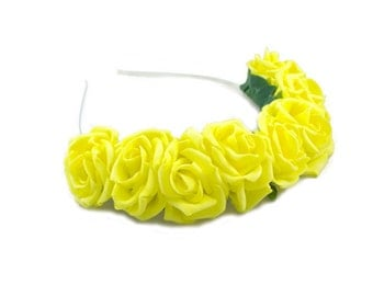 Yellow Rose Crown, Rose Crown, Festival Crown, Festival Garland, Yellow Flower Crown, Rose Headband, Boho Headband