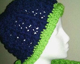 Navy and Green hat with brim. Crochet handmade Women's Seahawk Fan Accessories