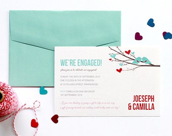 Affordable Printable Engagement Invitation - Love Birds