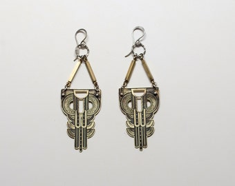 Small brass Manhattan Statement Earrings