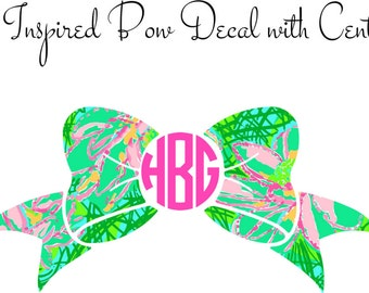 Bow Decal with Center Monogram