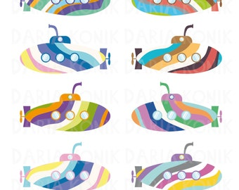 Rainbow Submarines Clip Art Set-colorful submarines, submarine clipart, eps, png, jpeg, instant download