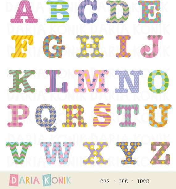 One Line Letter Art : Patterned alphabet clip art set a z uppercase letters