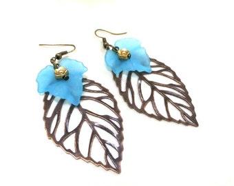 Large Leaf Earrings, Copper Leaf Earrings,Blue Fall Leaf Earrings, Boho Earrings, Nature Earrings, Blue Leaf Earrings, Nature Jewelry,Leaves